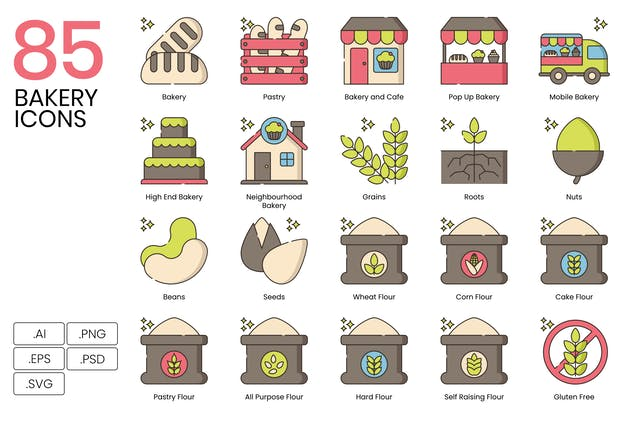 85 Bakery Icons - Hazel Series
