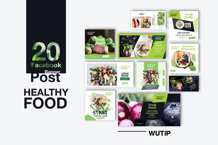 Thumbnail for 20 Facebook Post Banners - Healthy Food