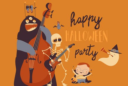 Crazy music party with band of cartoon Halloween