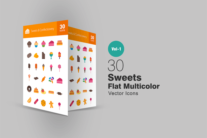 Thumbnail for 30 Sweets & Confectionery Flat Multicolor Icons