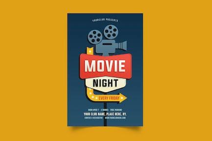Movie Nigh Retro Sign Flyer