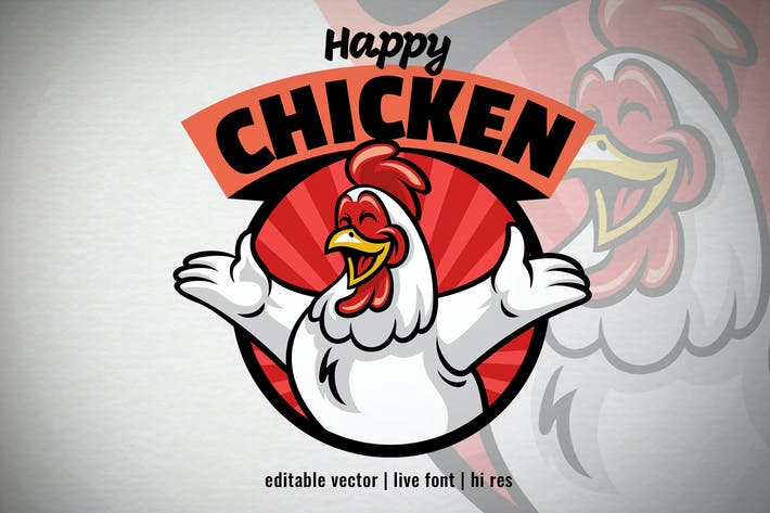 Cheerful Cartoon Chicken logo