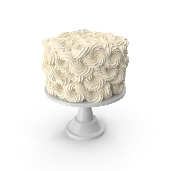 White Flower Wedding Cake with Pearls