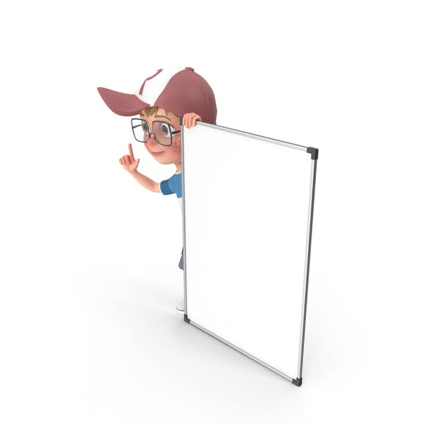 Cartoon Boy At Presentation