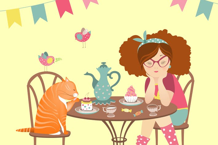 Thumbnail for Beautiful girl drinking coffee with funny cat.