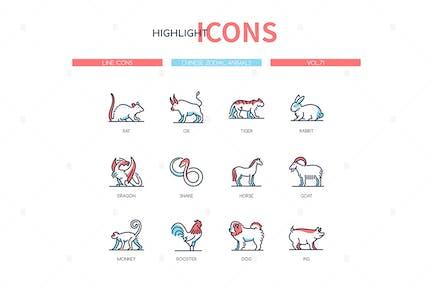 Chinese zodiac animals - line design style icons