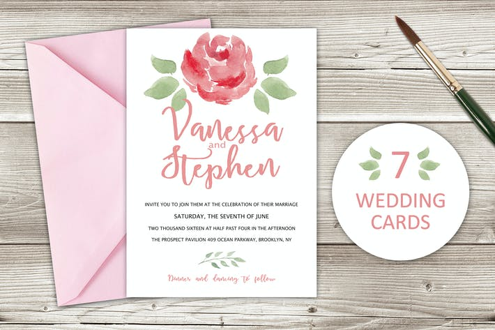 Thumbnail for Watercolor Wedding Invitations with floral design