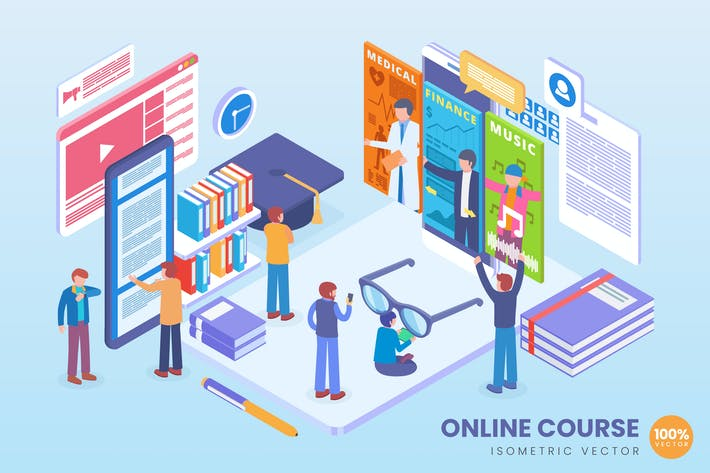 Thumbnail for Isometric Online Course Education Vector Concept