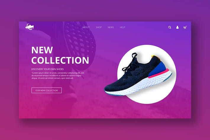 Thumbnail for Ecommerce Hero Header PSD Template