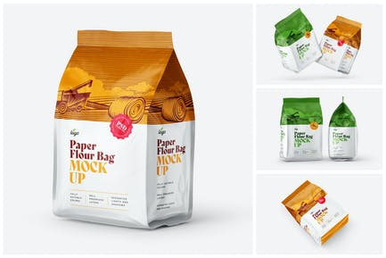 Paper Flour Bag Mockup Set   Pouch