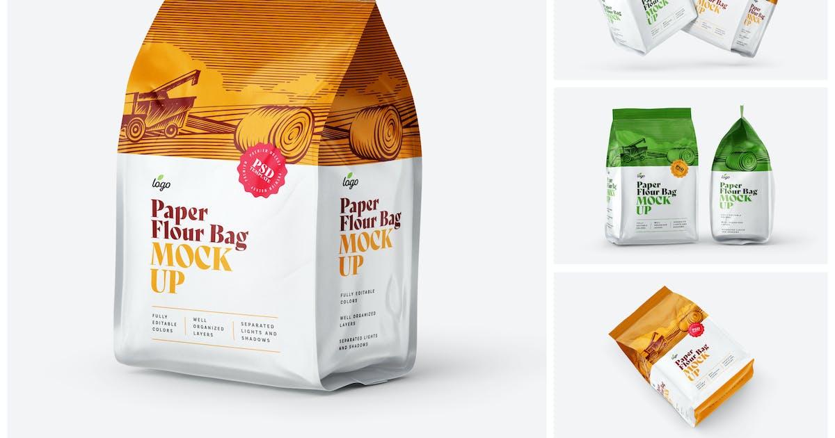 Download Paper Flour Bag Mockup Set   Pouch by deeplabstudio