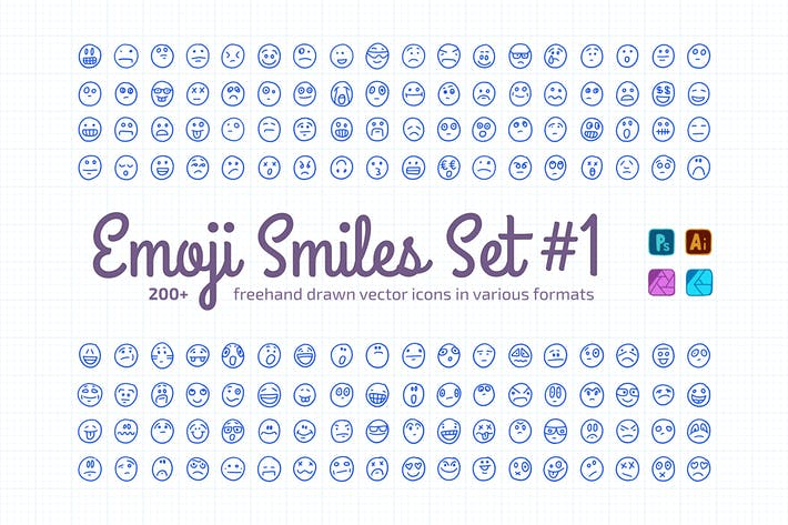 Thumbnail for Freehand Drawn Emoji Smiles Set #1 | Vector Icons