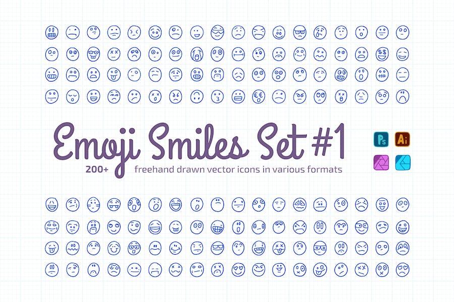 Freehand Drawn Emoji Smiles Set #1 | Vector Icons