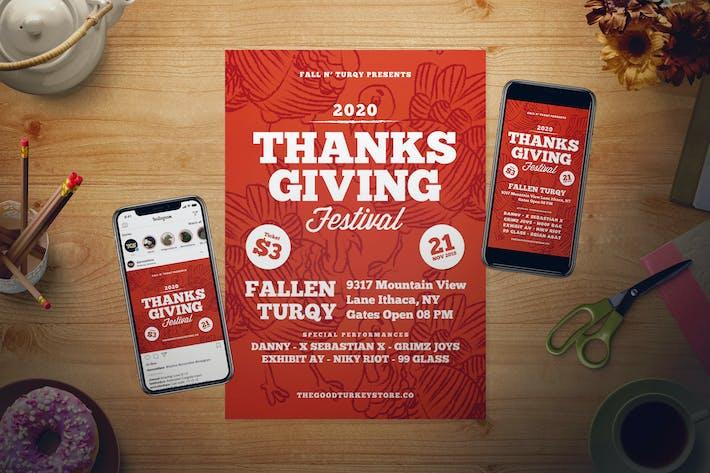 Thumbnail for Thanksgiving Day Flyer Set