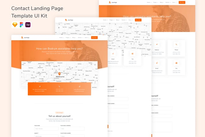 Thumbnail for Contact Landing Page Template UI Kit