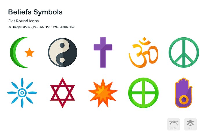 Thumbnail for Beliefs Symbols Flat Colored Icons