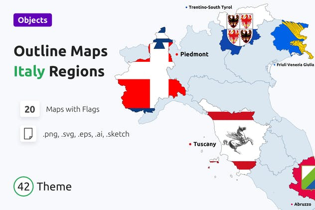 Outline Maps Regions of Italy with Flags