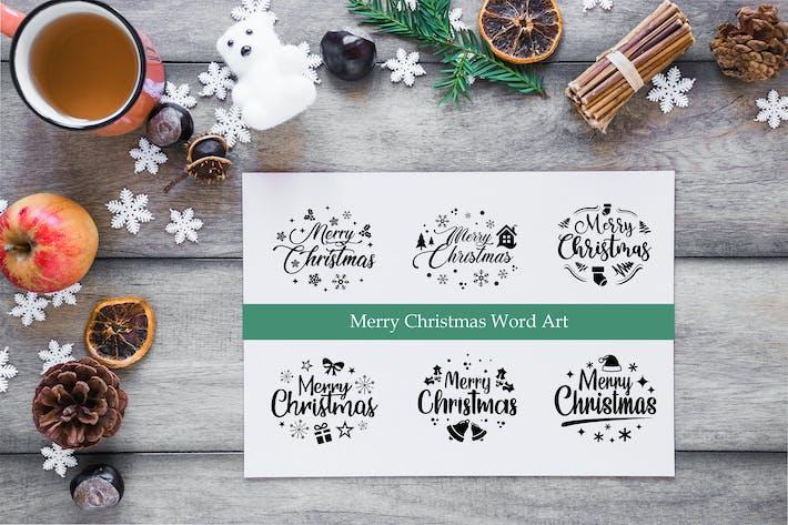 Thumbnail for Christmas Prints Design Bundle, Christmas Word Art