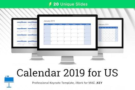 Calendar 2019 US for Keynote