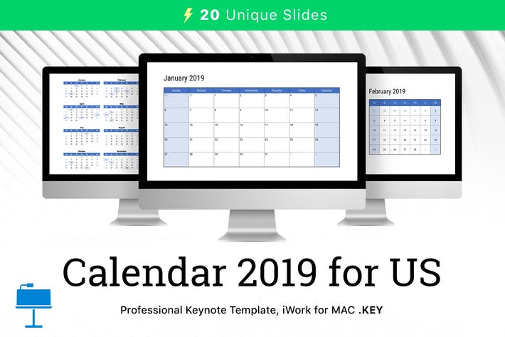 Thumbnail for Calendar 2019 US for Keynote