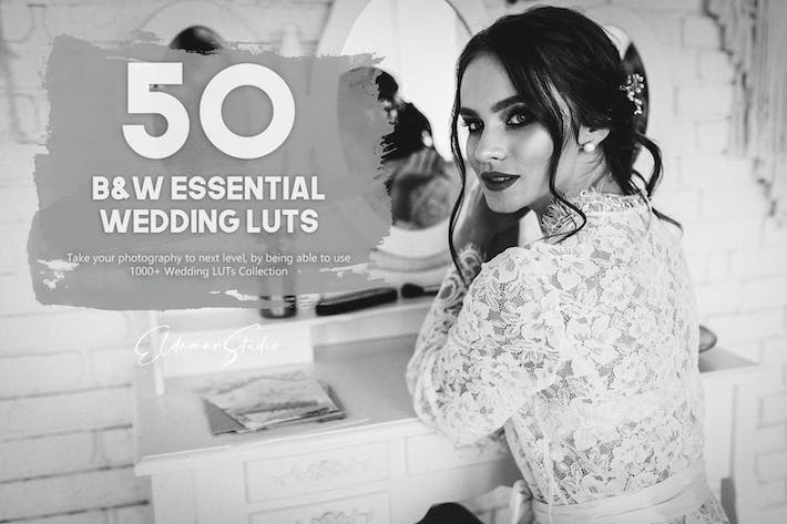 Thumbnail for 50 Black and White Essential Wedding LUTs Pack