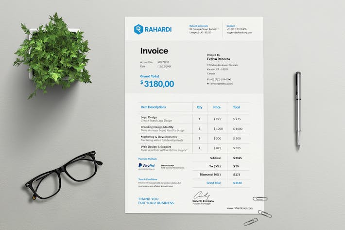 Thumbnail for Clean Simple and Minimal Business Invoice