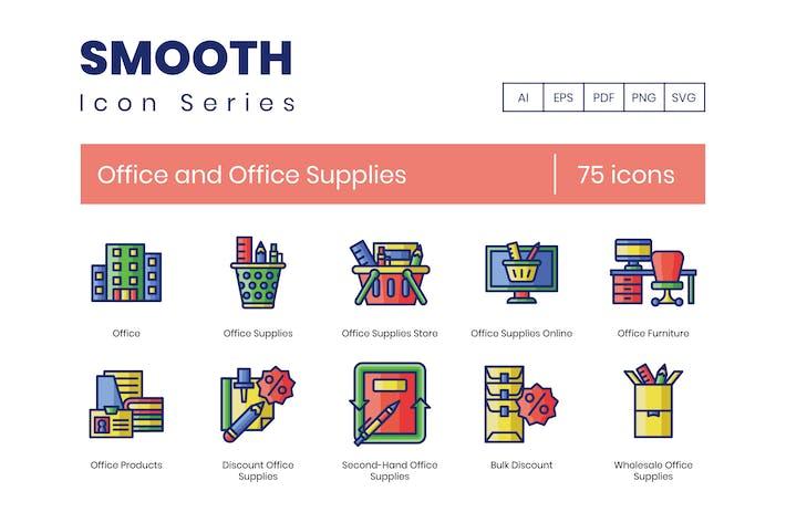 75 Büro- und Bürobedarf-Symbole - Smooth Serie