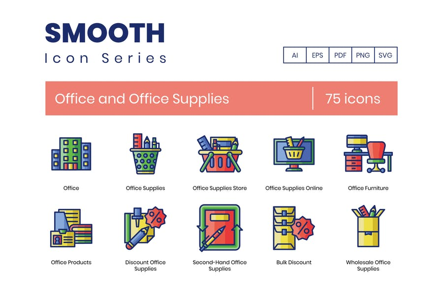 75 Office and Office Supplies Icons - Smooth Serie