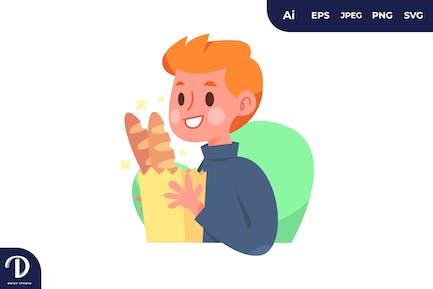 Niño con una cesta de panes