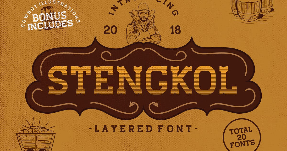 Download Stengkol Layered Font by MartypeCo
