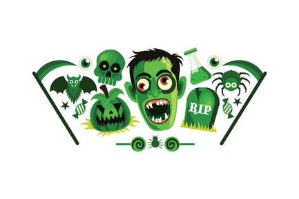 Set of Halloween Graphics Vector Illustration