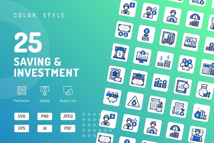 Icons für Speichern und Anlagefarben