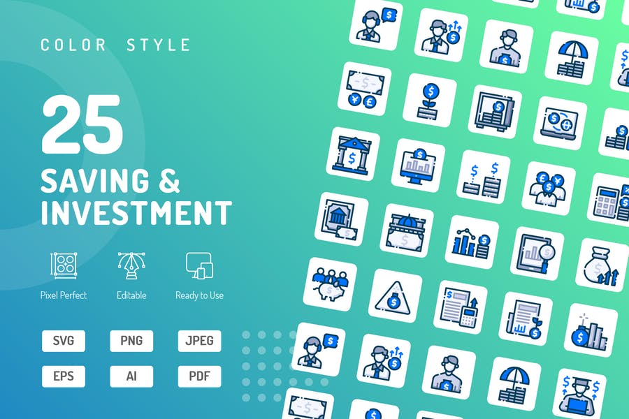 Saving & Investment Color Icons