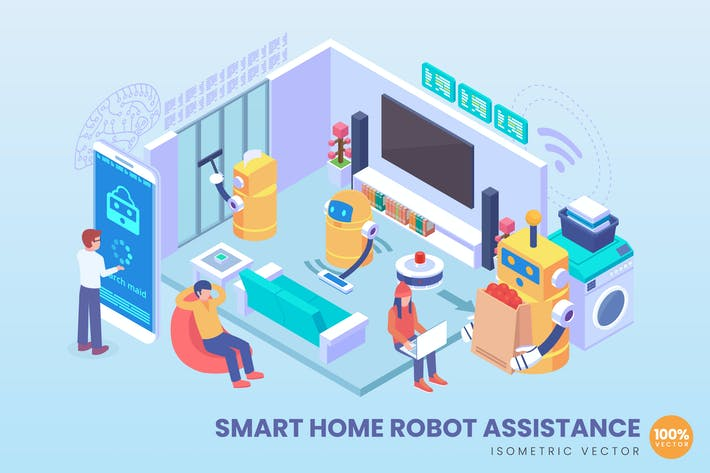 Thumbnail for Isometric Smart Home Robot Assistance Concept