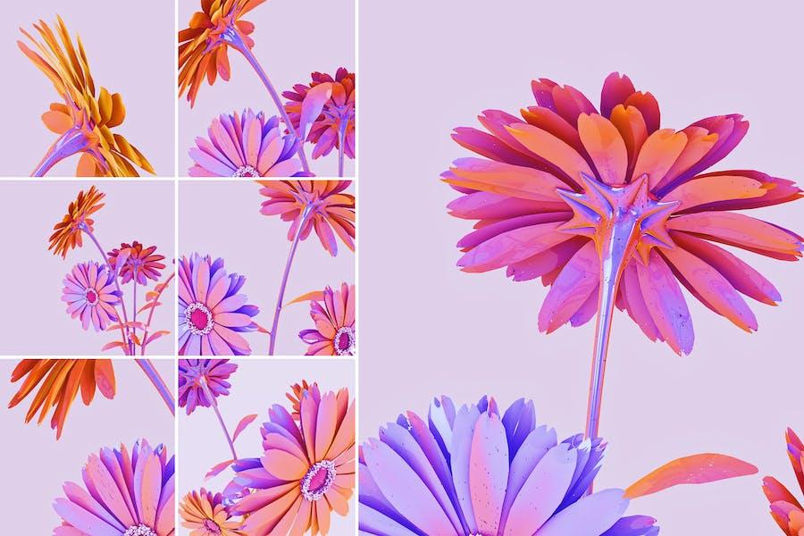Голографические цветы Абстрактные Фоны