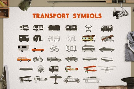 Transportsilhouette, Farbsymbole, Icons