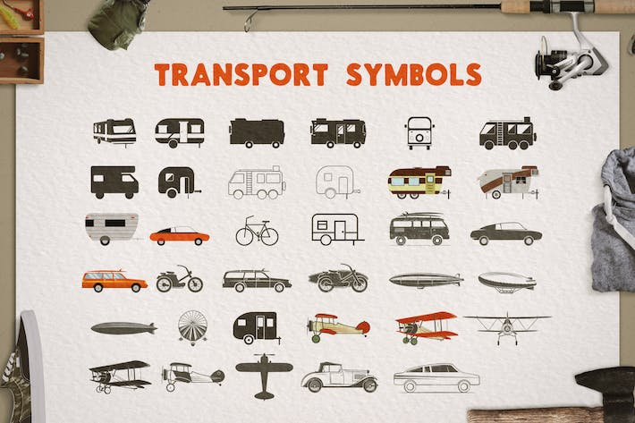 Thumbnail for Transportation Silhouette / Color Symbols / Icons