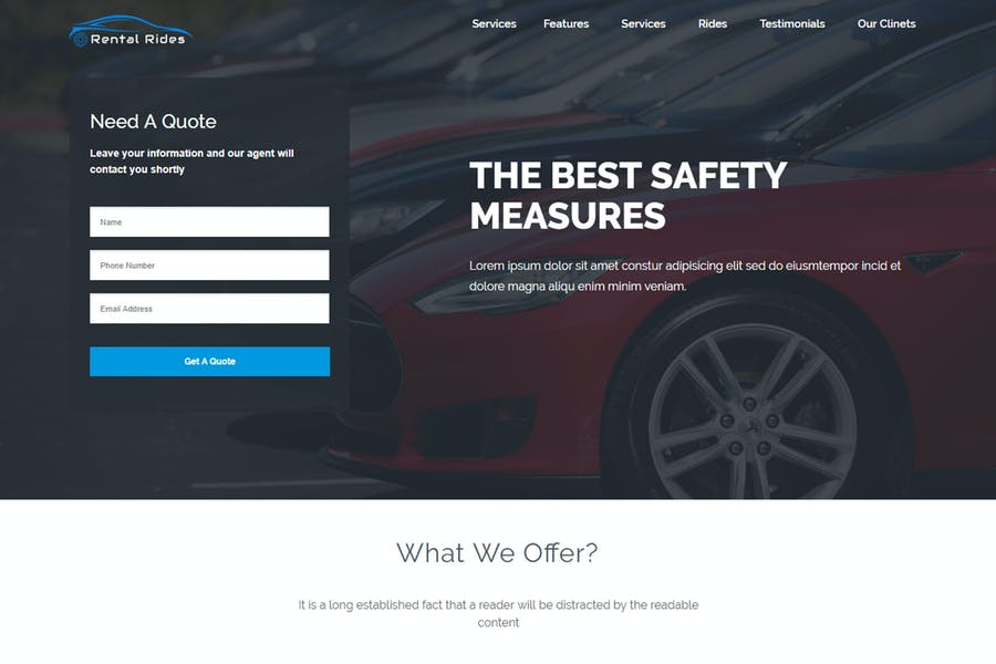 Rental Rides Unbounce Landing Page
