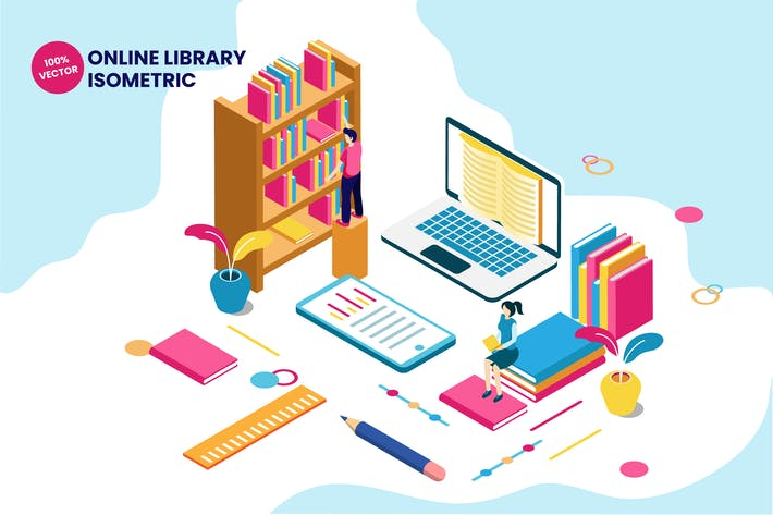 Isometric Online Library Vector Illustration