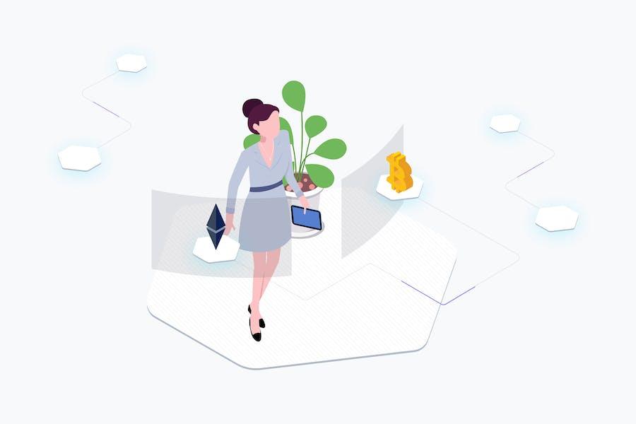 Exchange Cryptocurrency Isometric Illustration
