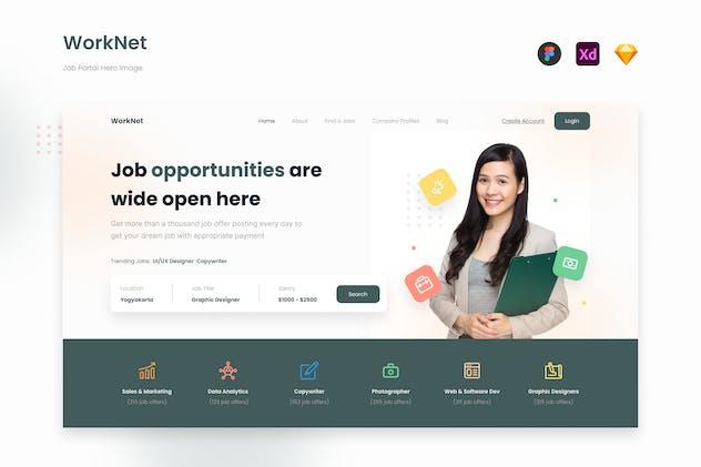 Worknet - Minimalist Job Portal Website Hero UI