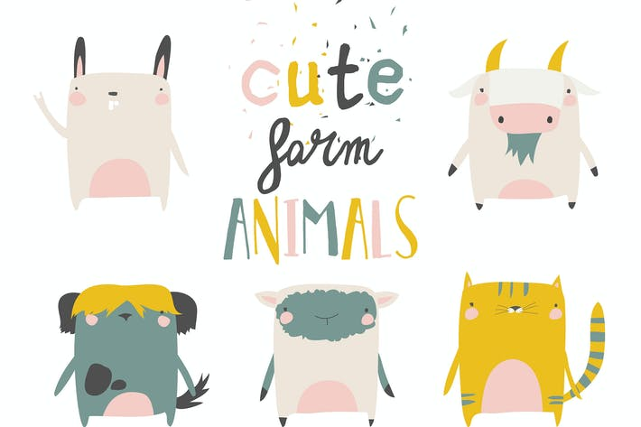 Cute Farm animals set on white background. Vector