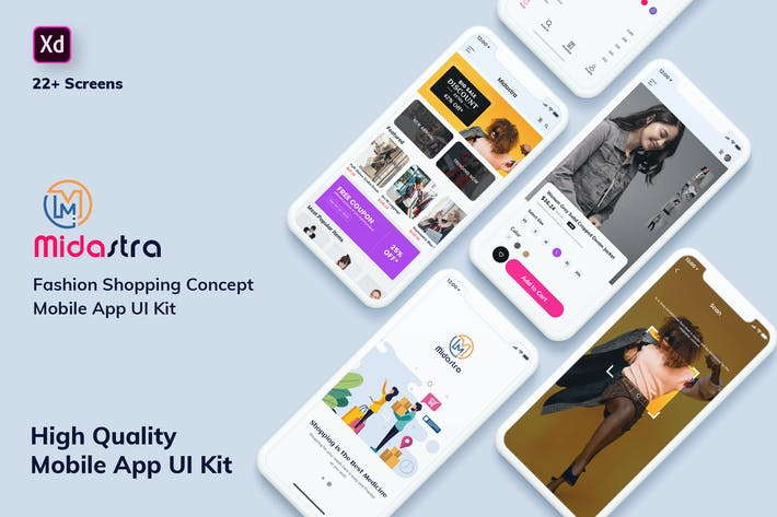 Thumbnail for Midastra-Fashion Shopping MobileApp UI Light (XD)