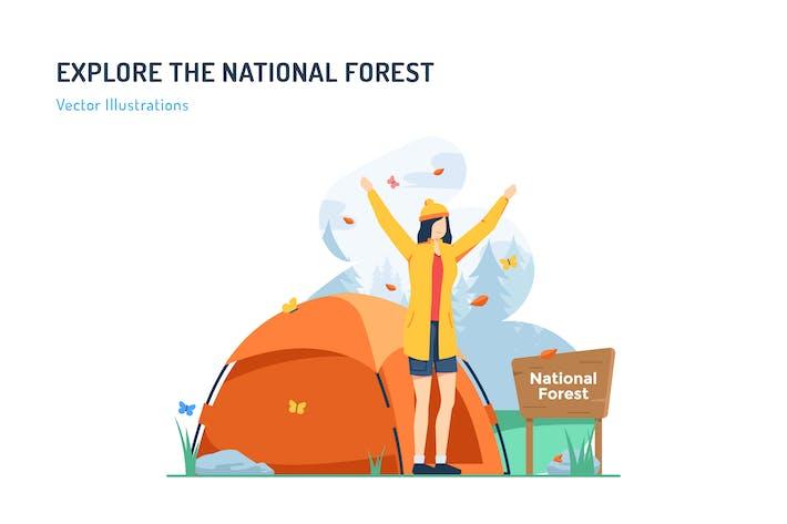 Thumbnail for Erkunden Sie den Nationalwald - Travel Illustration