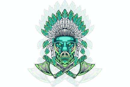 boar head indian native illustration