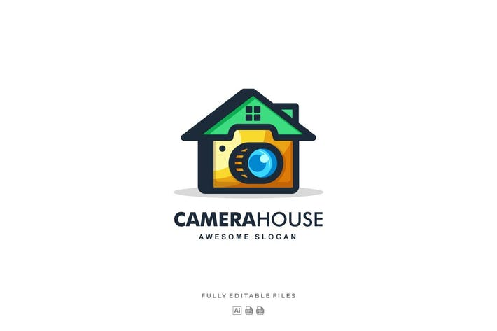 Thumbnail for Home and Camera Color Line Art Logo