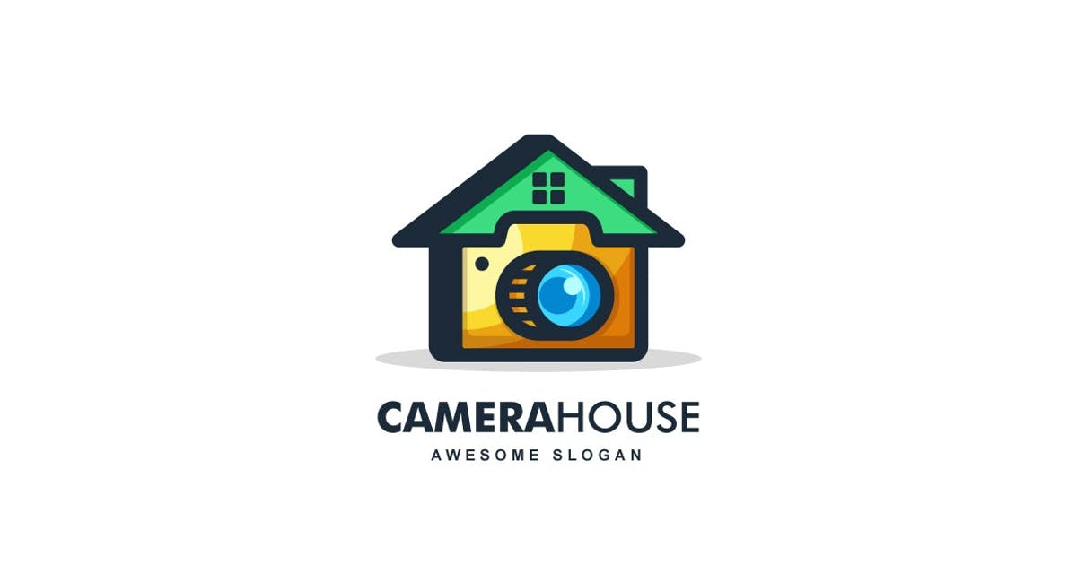 Download Home and Camera Color Line Art Logo by ivan_artnivora
