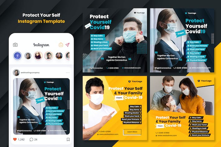 Thumbnail for Prevent Corona Virus Instagram Template