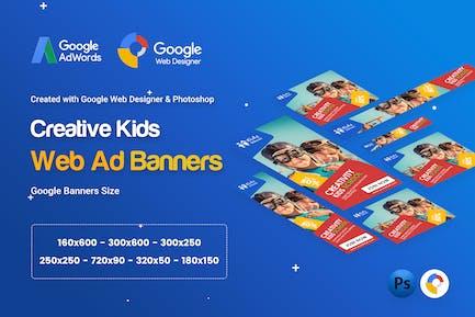 Kids Creative & School Banners Ad - GWD & PSD