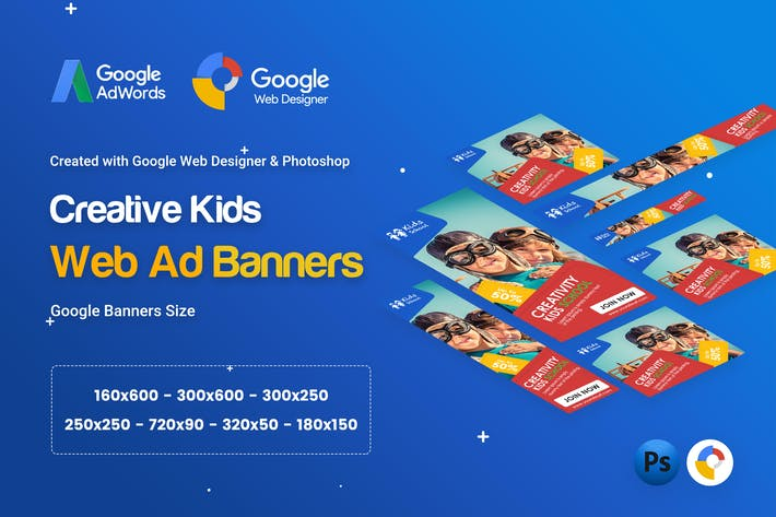 Cover Image For Kids Creative & School Banners Ad - GWD & PSD